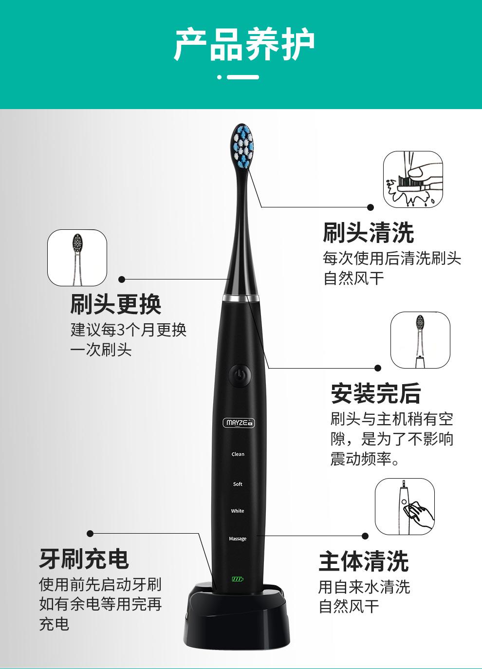 麦喆MAYZE EB001麦喆智能声波式全身防水电动牙刷(图15)